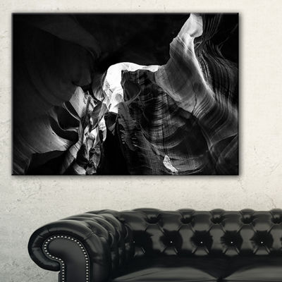 Designart Black and White Antelope Canyon Landscape Photography Canvas Print - 4 Panels