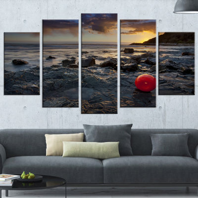 Designart Sunset at Livorno Italy Landscape Photography Canvas Art Print - 4 Panels