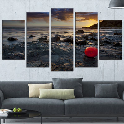 Designart Sunset at Livorno Italy Landscape Photography Canvas Art Print - 5 Panels