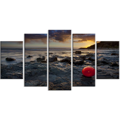 Designart Sunset at Livorno Italy Large LandscapePhotography Canvas Art Print - 5 Panels