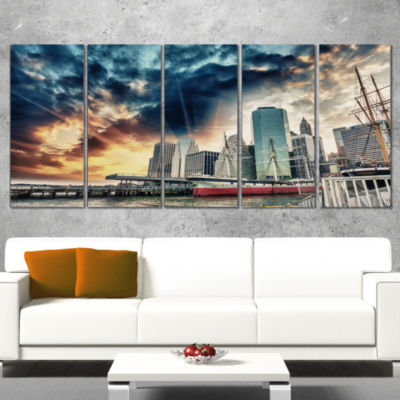 Designart Sunset Colors of Manhattan Cityscape Photo CanvasPrint - 4 Panels