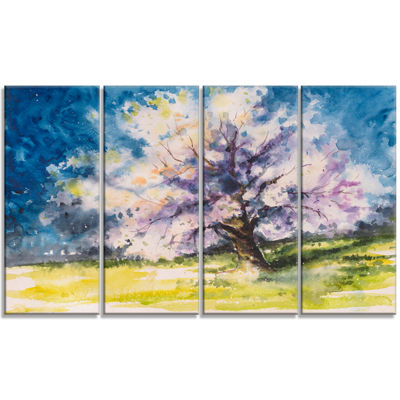 Designart Blooming Cherry Tree Blue Watercolor Floral Canvas Art Print - 4 Panels