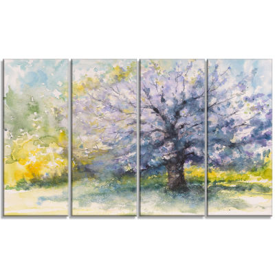 Blooming Cherry Tree Watercolor Floral Canvas ArtPrint - 4 Panels