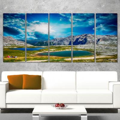 Designart Sunset Over Alpine Lakes Landscape Photography Canvas Print - 5 Panels