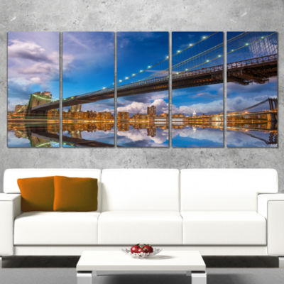 Designart Sunset Over Brooklyn Bridge Cityscape Photo CanvasPrint - 4 Panels