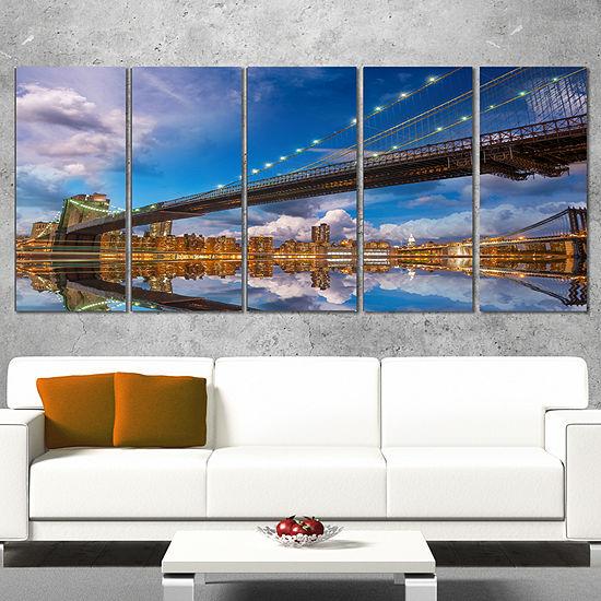 Designart Sunset Over Brooklyn Bridge Cityscape Photo CanvasPrint - 4 Panels