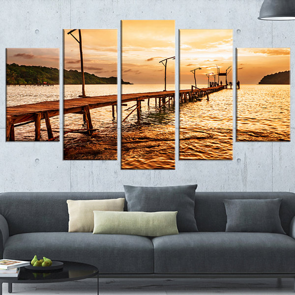 Designart Sunset Over Brown Sea Seascape Wrapped Art Print -5 Panels