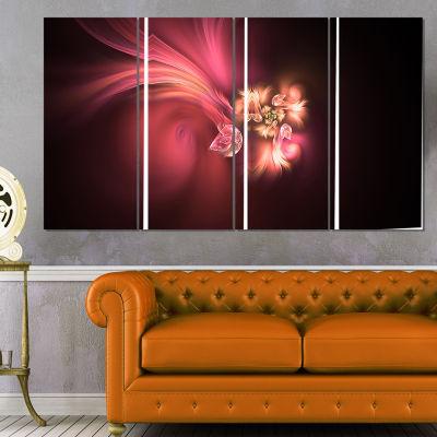 Designart Blooming Fractal Flower Magenta FloralArt CanvasPrint - 4 Panels