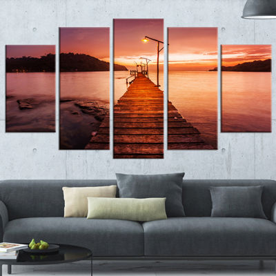 Designart Sunset Over Purple Sea Seascape Canvas Art Print -4 Panels