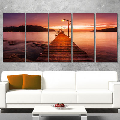 Designart Sunset Over Purple Sea Seascape Canvas Art Print -5 Panels
