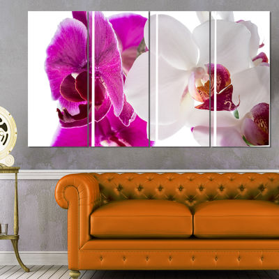 Designart Blooming Orchid Flowers Abstract PrintOnCanvas -4 Panels