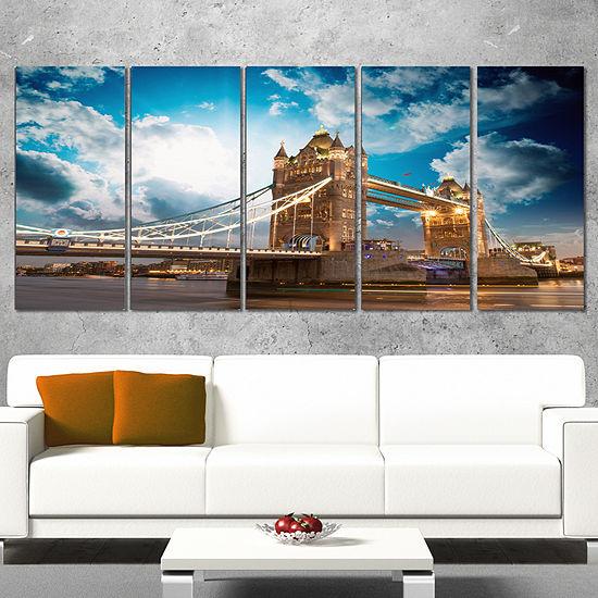 Designart Sunset Over Tower Bridge Cityscape PhotoCanvas Print - 4 Panels