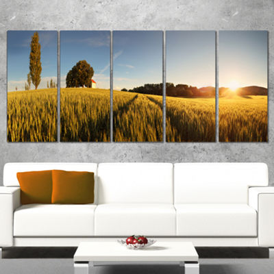 Designart Sunset Over Wheat Field in Slovakia Photography Canvas Art Print - 4 Panels