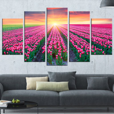 Designart Blooming Tulips at Sunrise PhotographyCanvas Art Print - 5 Panels