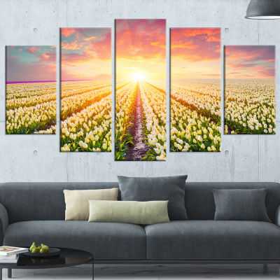 Designart Blooming White Tulips Landscape Photo Canvas Art Print - 4 Panels