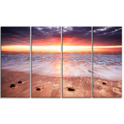 Designart Sunset Strip Landscape Photography Canvas Art Print - 4 Panels