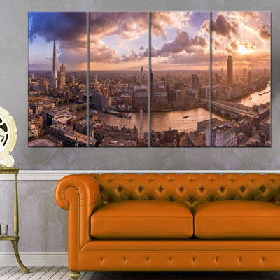 Designart Sunset Through Clouds in London Photography CanvasArt Print - 4 Panels
