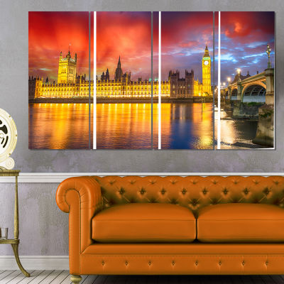 Designart Sunset View of London Skyline CityscapePhoto Canvas Print - 4 Panels