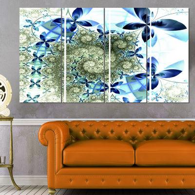 Designart Blue and Green Fractal Flowers Floral Art Canvas Print - 4 Panels