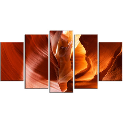 Designart Sunshine in Antelope Canyon Large Landscape PhotoCanvas Art Print - 5 Panels