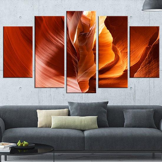 Designart Sunshine in Antelope Canyon Large Landscape PhotoCanvas Art Print - 5 Panels