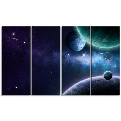 Designart Blue and Purple Nebula Contemporary Canvas Art Print - 4 Panels