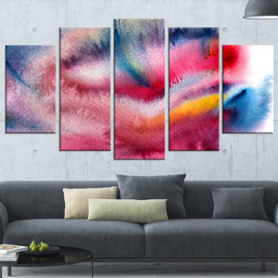 Designart Blue and Red Abstract Stain Abstract Wrapped Canvas Art Print - 5 Panels