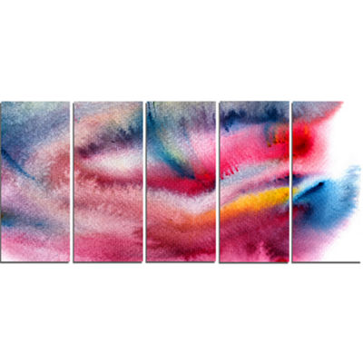Designart Blue and Red Abstract Stain Abstract Canvas Art Print - 5 Panels