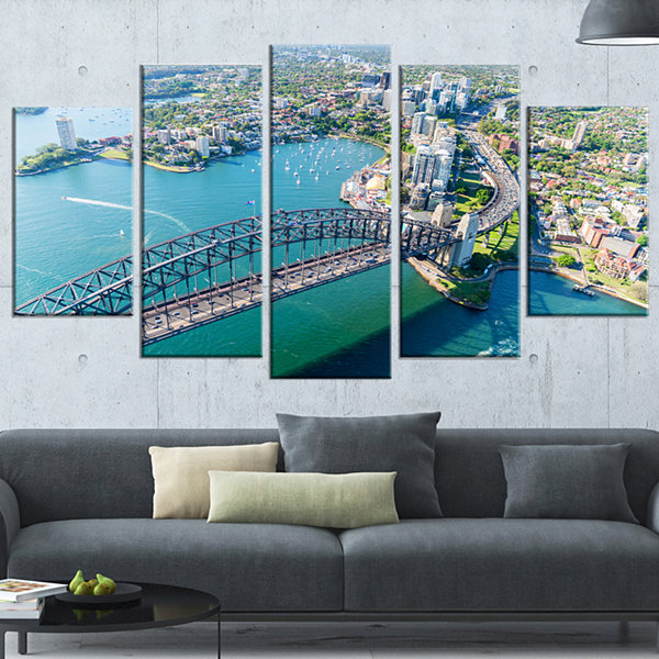 Sydney Aerial View Large Cityscape Photography Canvas Art Print - 5 Panels