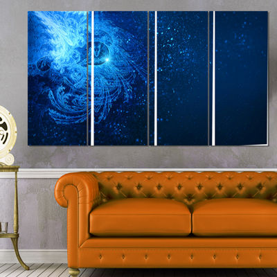 Designart Blue Falling Snow Abstract Canvas Art Print - 4 Panels