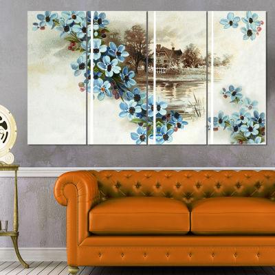 Designart Blue Flowers Illustration Floral Art Canvas Print- 4 Panels