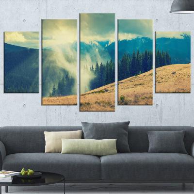 Designart Blue Forest in Fog Landscape PhotographyWrapped Canvas Print - 5 Panels
