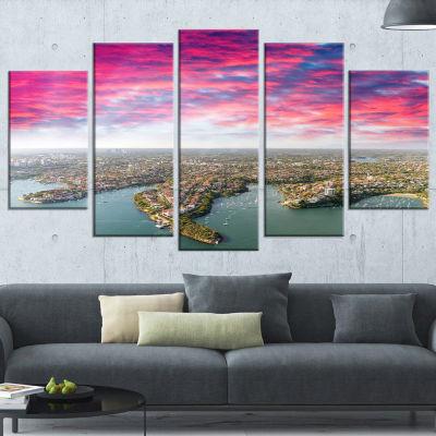 Designart Sydney Under Red Cloud Large Cityscape Photo Canvas Art Print - 5 Panels