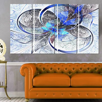 Designart Symmetrical Blue Fractal Flower AbstractPrint onCanvas - 4 Panels