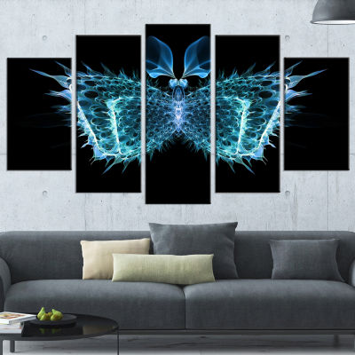 Designart Blue Fractal Butterfly in Dark AbstractCanvas Art Print - 4 Panels