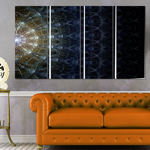 Symmetrical Blue Silver Fractal Flower Abstract Print on Canvas - 4 Panels