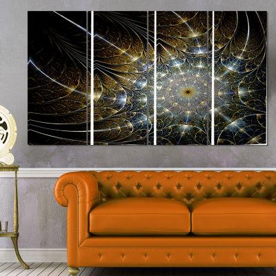 Designart Symmetrical Brown Fractal Flower Abstract Print onCanvas - 4 Panels