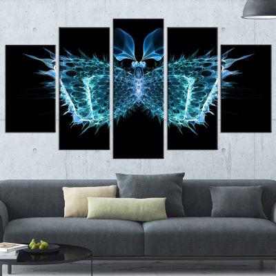 Designart Blue Fractal Butterfly in Dark Contemporary Canvas Art Print - 5 Panels