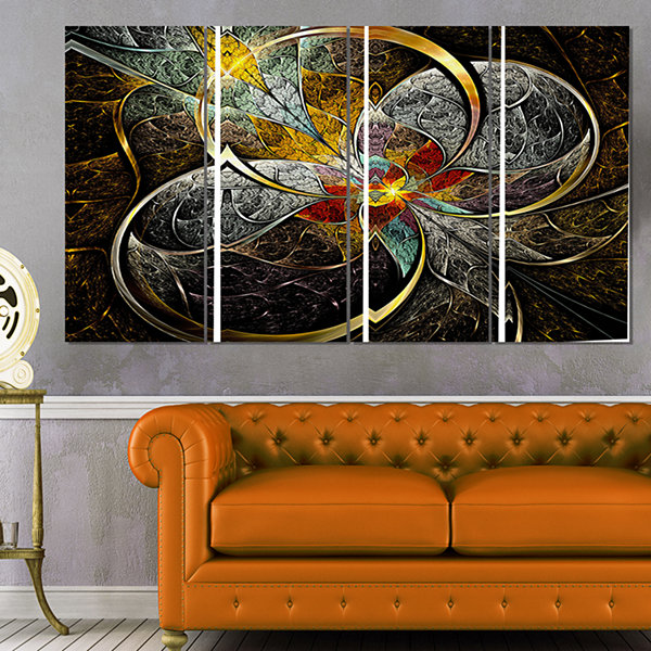 Symmetrical Brown Fractal Flowers Abstract Print on Canvas - 4 Panels