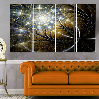 Designart Symmetrical Dark Golden Fractal Flower Abstract Canvas Print - 4 Panels