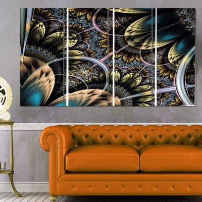 Designart Symmetrical Dark Orange Fractal Flower Abstract Print on Canvas - 4 Panels
