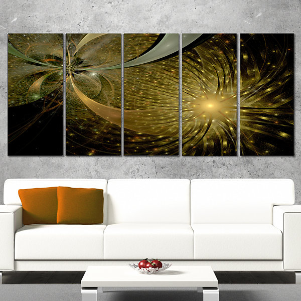 Designart Symmetrical Firework Pattern Abstract Print on Canvas - 5 Panels