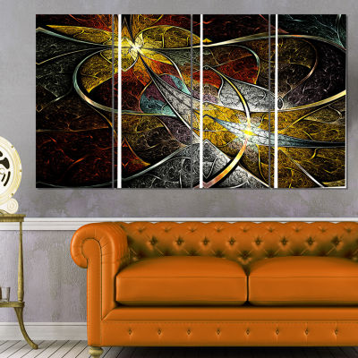 Designart Symmetrical Fractal Flower Floral Art Canvas Print- 4 Panels
