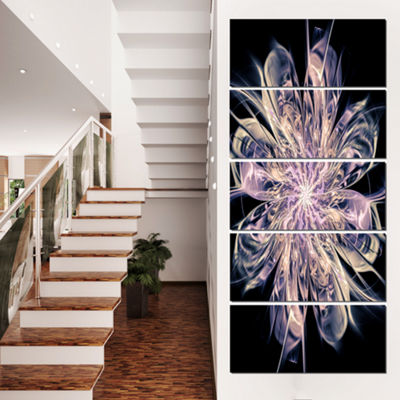 Designart Blue Fractal Flower Petals Floral Art Canvas Print- 5 Panels
