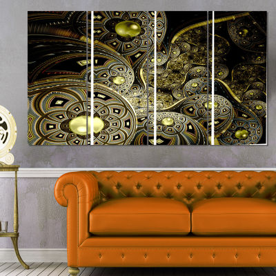 Designart Symmetrical Gold Fractal Flower Floral Art CanvasPrint - 4 Panels