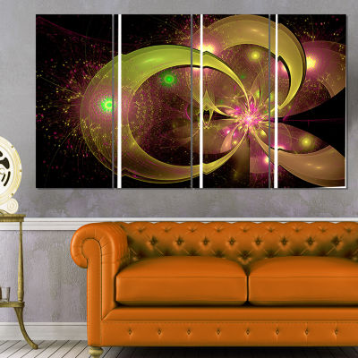 Designart Symmetrical Green Fractal Flower FloralArt CanvasPrint - 4 Panels