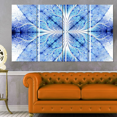 Designart Symmetrical Light Blue Pattern Floral Art Canvas Print - 4 Panels
