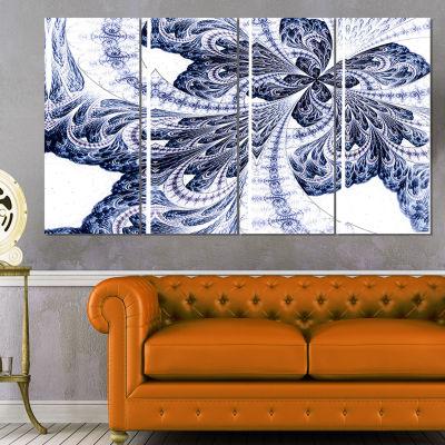Designart Symmetrical Purple Fractal Flower Abstract CanvasArt Print - 4 Panels