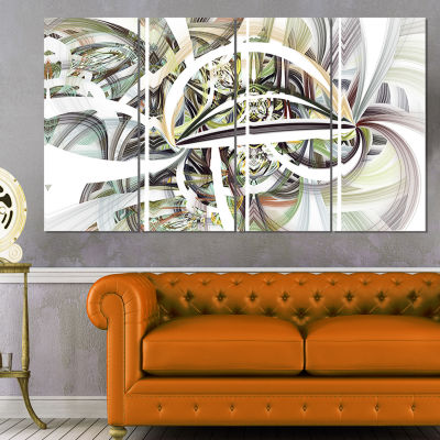 Designart Symmetrical Spiral Fractal Flowers Abstract Printon Canvas - 4 Panels