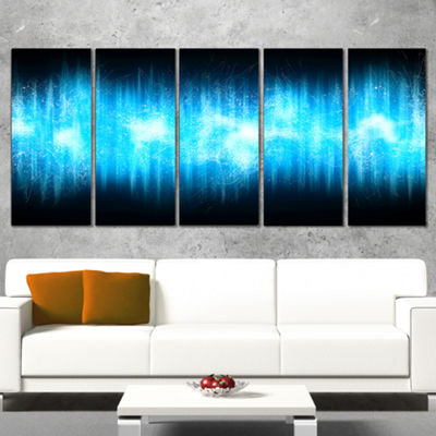Designart Blue Ice Flame Abstract Abstract PrintOnCanvas -4 Panels